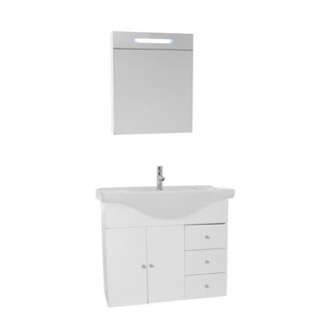 Bathroom Vanity 32 Inch Glossy White Wall Mounted Bathroom Vanity Set, Curved Sink, Lighted Medicine Cabinet Included ACF LON61