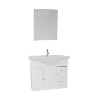 Bathroom Vanity 32 Inch Glossy White Wall Mounted Bathroom Vanity Set, Curved Sink, Medicine Cabinet Included ACF LON62