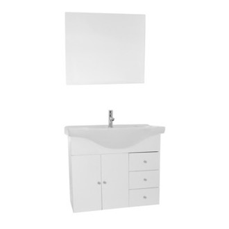 Bathroom Vanity 32 Inch Glossy White Wall Mounted Bathroom Vanity Set, Curved Sink, Mirror Included ACF LON22