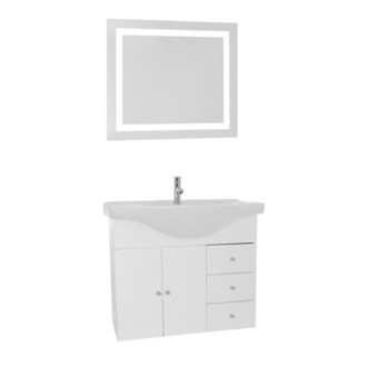 Bathroom Vanity 32 Inch Glossy White Wall Mounted Bathroom Vanity Set, Curved Sink, Lighted Mirror Included ACF LON24