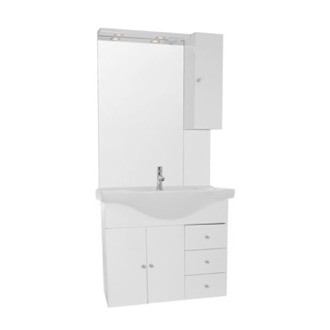 Bathroom Vanity 32 Inch Glossy White Wall Mounted Bathroom Vanity Set, Curved Sink, Lighted Mirror Included ACF LON25