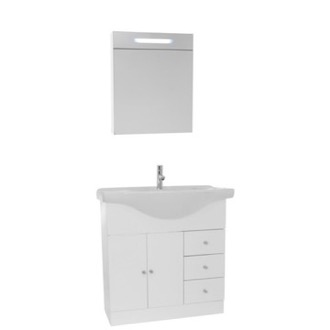 Bathroom Vanity 32 Inch Glossy White Floor Standing Bathroom Vanity Set, Curved Sink, Lighted Medicine Cabinet Included ACF LON70