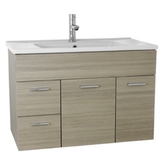 ACF LOR10 33 Inch Larch Canapa Bathroom Vanity Set, Wall Mounted