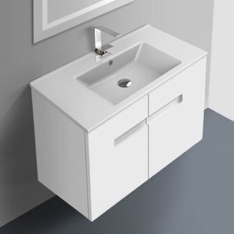 32 Inch Vanity Cabinet With Fitted Sink ACF NY32-Glossy White