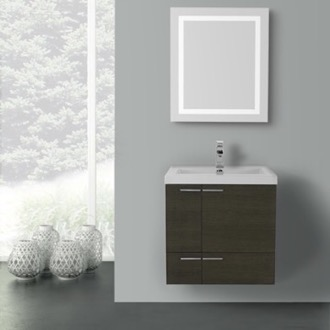 23 Inch Grey Oak Bathroom Vanity with Fitted Ceramic Sink, Wall Mounted, Lighted Mirror Included ACF ANS477