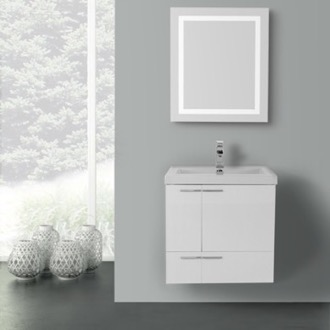 23 Inch Glossy White Bathroom Vanity with Fitted Ceramic Sink, Wall Mounted, Lighted Mirror Included ACF ANS461