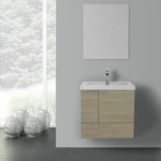 23 Inch Larch Canapa Bathroom Vanity with Fitted Ceramic Sink, Wall Mounted, Mirror Included ACF ANS484