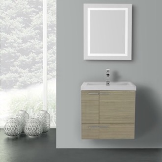 Bathroom Vanity 23 Inch Larch Canapa Bathroom Vanity with Fitted Ceramic Sink, Wall Mounted, Lighted Mirror Included ACF ANS485