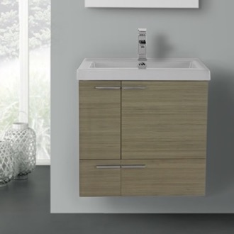 Bathroom Vanity 23 Inch Larch Canapa Bathroom Vanity with Fitted Ceramic Sink, Wall Mounted ACF ANS339