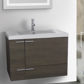 31 inch grey oak bathroom vanity with fitted ceramic sink wall mounted - Wall Mounted Bathroom Vanity