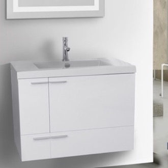 31 Inch Glossy White Bathroom Vanity with Fitted Ceramic Sink, Wall Mounted ACF ANS344