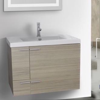 Bathroom Vanity 31 Inch Larch Canapa Bathroom Vanity with Fitted Ceramic Sink, Wall Mounted ACF ANS347