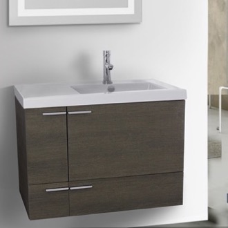 31 Inch Grey Oak Bathroom Vanity with Fitted Ceramic Sink, Wall Mounted ACF ANS350