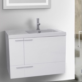 31 Inch Glossy White Bathroom Vanity with Fitted Ceramic Sink, Wall Mounted ACF ANS348