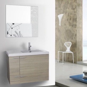 31 Inch Larch Canapa Bathroom Vanity with Fitted Ceramic Sink, Wall Mounted, Mirror Included ACF ANS564