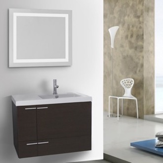 Bathroom Vanity 31 Inch Wenge Bathroom Vanity with Fitted Ceramic Sink, Wall Mounted, Lighted Mirror Included ACF ANS553