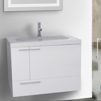 Bathroom Vanity 31 Inch Glossy White Bathroom Vanity with Fitted Ceramic Sink, Wall Mounted ACF ANS352