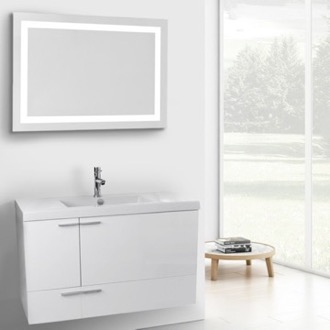 39 Inch Glossy White Bathroom Vanity with Fitted Ceramic Sink, Wall Mounted, Lighted Mirror Included ACF ANS595