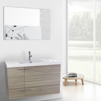 39 Inch Larch Canapa Bathroom Vanity with Fitted Ceramic Sink, Wall Mounted, Mirror Included ACF ANS604