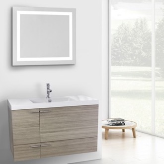 39 Inch Larch Canapa Bathroom Vanity with Fitted Ceramic Sink, Wall Mounted, Lighted Mirror Included ACF ANS606