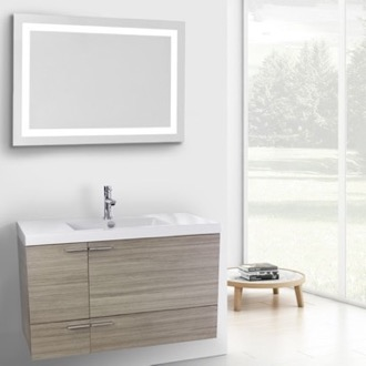 39 Inch Larch Canapa Bathroom Vanity with Fitted Ceramic Sink, Wall Mounted, Lighted Mirror Included ACF ANS607
