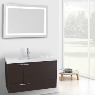 Bathroom Vanity 39 Inch Wenge Bathroom Vanity with Fitted Ceramic Sink, Wall Mounted, Lighted Mirror Included ACF ANS599