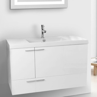 39 Inch Glossy White Bathroom Vanity with Fitted Ceramic Sink, Wall Mounted ACF ANS356