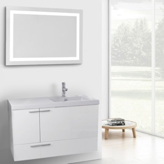 39 Inch Glossy White Bathroom Vanity with Fitted Ceramic Sink, Wall Mounted, Lighted Mirror Included ACF ANS611