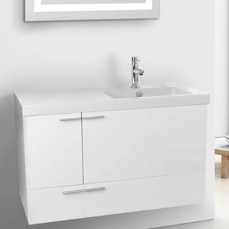 39 Inch Glossy White Bathroom Vanity with Fitted Ceramic Sink, Wall Mounted ACF ANS360
