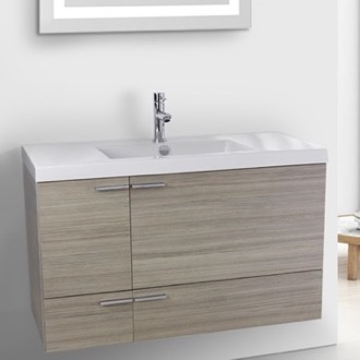Bathroom Vanity 39 Inch Larch Canapa Bathroom Vanity with Fitted Ceramic Sink, Wall Mounted ACF ANS359