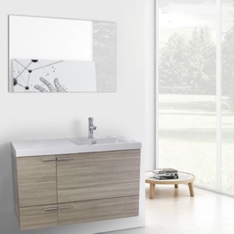 39 Inch Larch Canapa Bathroom Vanity with Fitted Ceramic Sink, Wall Mounted, Mirror Included ACF ANS628