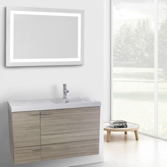 Bathroom Vanity 39 Inch Larch Canapa Bathroom Vanity with Fitted Ceramic Sink, Wall Mounted, Lighted Mirror Included ACF ANS629