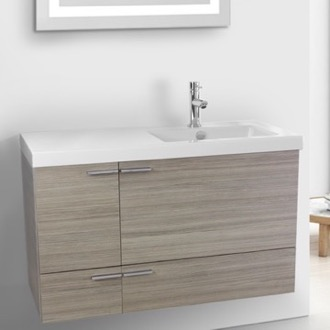 Bathroom Vanity 39 Inch Larch Canapa Bathroom Vanity with Fitted Ceramic Sink, Wall Mounted ACF ANS363