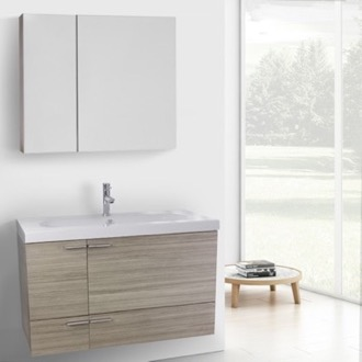 39 Inch Larch Canapa Bathroom Vanity with Fitted Ceramic Sink, Wall Mounted, Medicine Cabinet Included ACF ANS1345