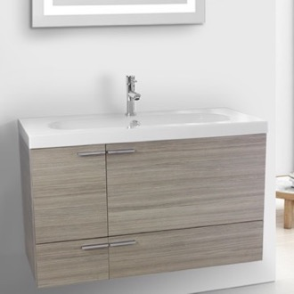 Bathroom Vanity 39 Inch Larch Canapa Bathroom Vanity with Fitted Ceramic Sink, Wall Mounted ACF ANS367