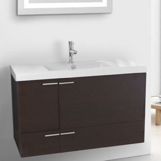 39 Inch Wenge Bathroom Vanity with Fitted Ceramic Sink, Wall Mounted ACF ANS357