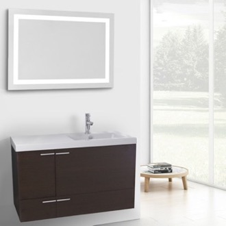 39 Inch Wenge Bathroom Vanity with Fitted Ceramic Sink, Wall Mounted, Lighted Mirror Included ACF ANS617