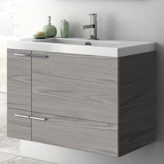 31 Inch Vanity Cabinet With Fitted Sink ACF ANS31-Grey Walnut