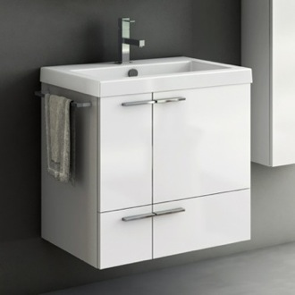 23 Inch Vanity Cabinet With Fitted Sink ACF ANS32-Glossy White