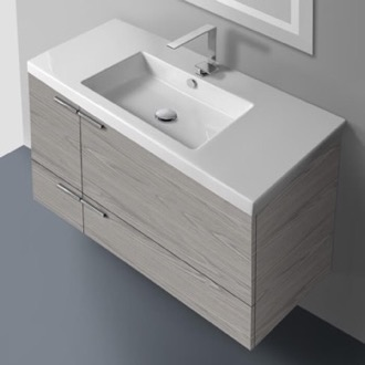 39 Inch Vanity Cabinet With Fitted Sink ACF ANS34-Grey Walnut