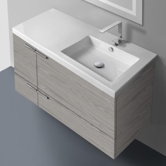 39 Inch Vanity Cabinet With Fitted Sink ACF ANS45-Grey Walnut