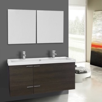 Bathroom Vanity 47 Inch Grey Oak Bathroom Vanity Set, Double Sink, Mirrors Included ACF ANS1125