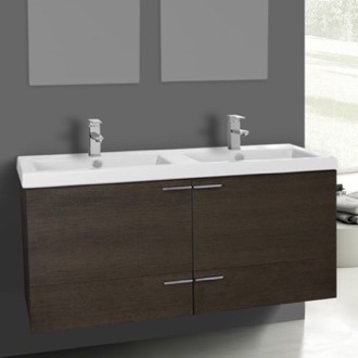 Bathroom Vanity 47 Inch Grey Oak Bathroom Vanity Set, Double Sink ACF ANS374