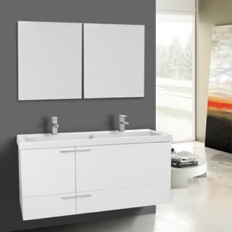 47 Inch Glossy White Bathroom Vanity Set, Double Sink, Mirrors Included ACF ANS1117