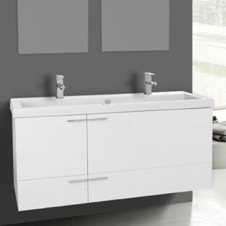 47 inch glossy white bathroom vanity set double sink - Double Sink Bathroom Vanities