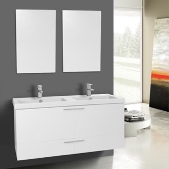 Bathroom Vanity 47 Inch Glossy White Bathroom Vanity Set, Double Sink, Mirrors Included ACF ANS1040