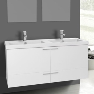 Bathroom Vanity 47 Inch Glossy White Bathroom Vanity Set, Double Sink ACF ANS372