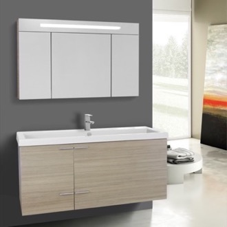 47 Inch Larch Canapa Bathroom Vanity with Fitted Ceramic Sink, Wall Mounted, Lighted Medicine Cabinet Included ACF ANS1362