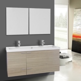 47 Inch Larch Canapa Bathroom Vanity Set, Double Sink, Mirrors Included ACF ANS1129
