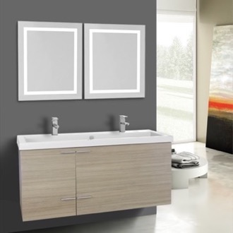 47 Inch Larch Canapa Bathroom Vanity Set, Double Sink, Lighted Mirrors Included ACF ANS1130